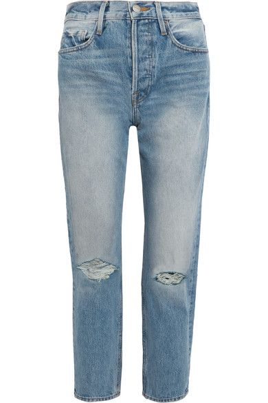 FRAME - Rigid Re-release Le Original Distressed High-rise Straight-leg Jeans - Blue - 32