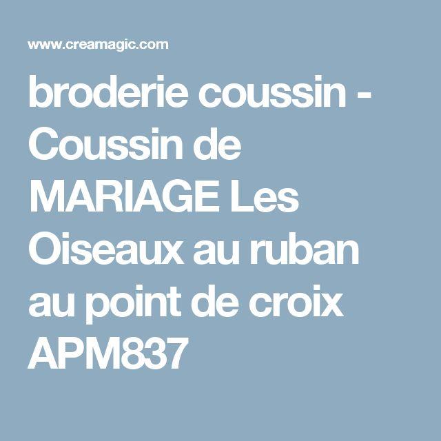 broderie coussin - Coussin de MARIAGE Les Oiseaux au ruban au point de croix APM837
