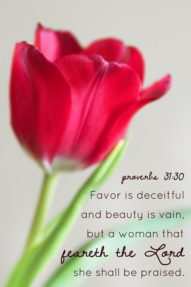 Proverbs 31:30 Favor is deceitful and beauty is vain, but a woman that feareth the Lord shall be praised.