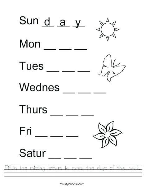 22 Days Of the Week Worksheets Pdf in 2020 | English ...