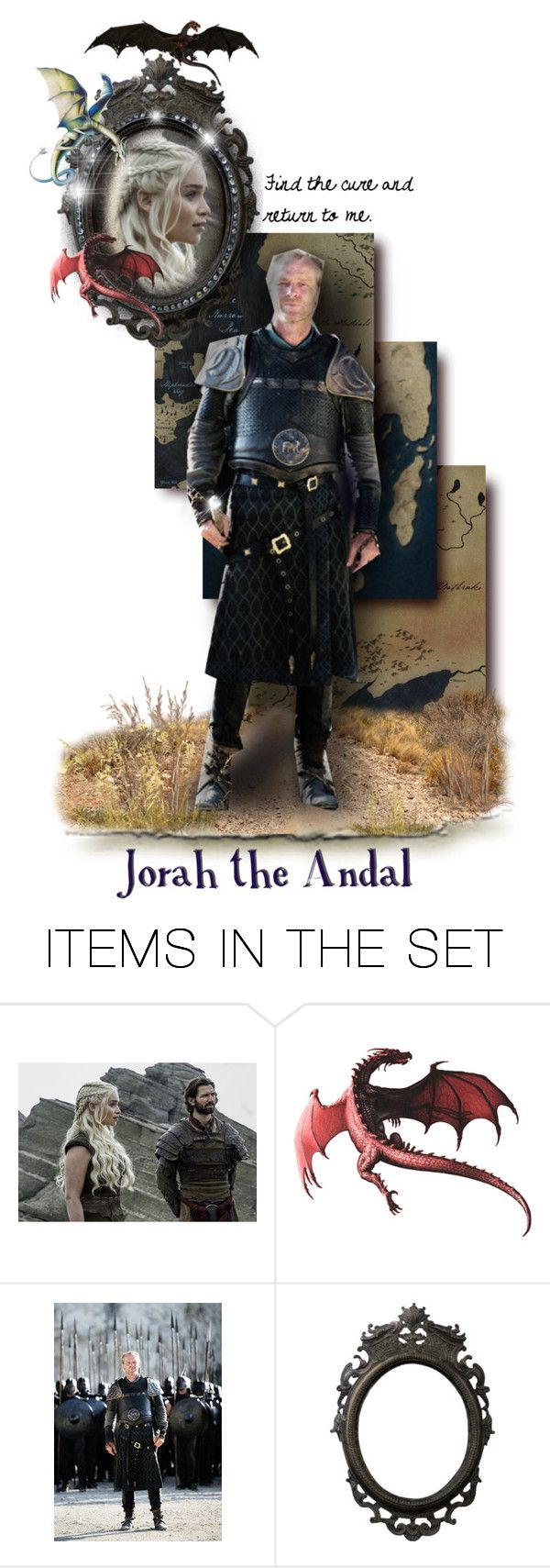 """Jorah the Andal"" by annette-heathen ❤ liked on Polyvore featuring art, GameOfThrones, housetargaryen, HouseMormont, jorahmormont and GOTDolls"