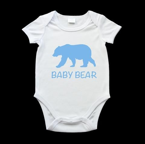 Funny baby bear onesie blue bear and text