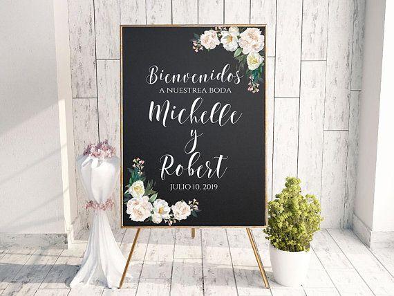 Bienvenidos Signo Espanol Nuestra Boda Boda Espanol Etsy Wedding Chalk Wedding Signs Welcome To Our Wedding