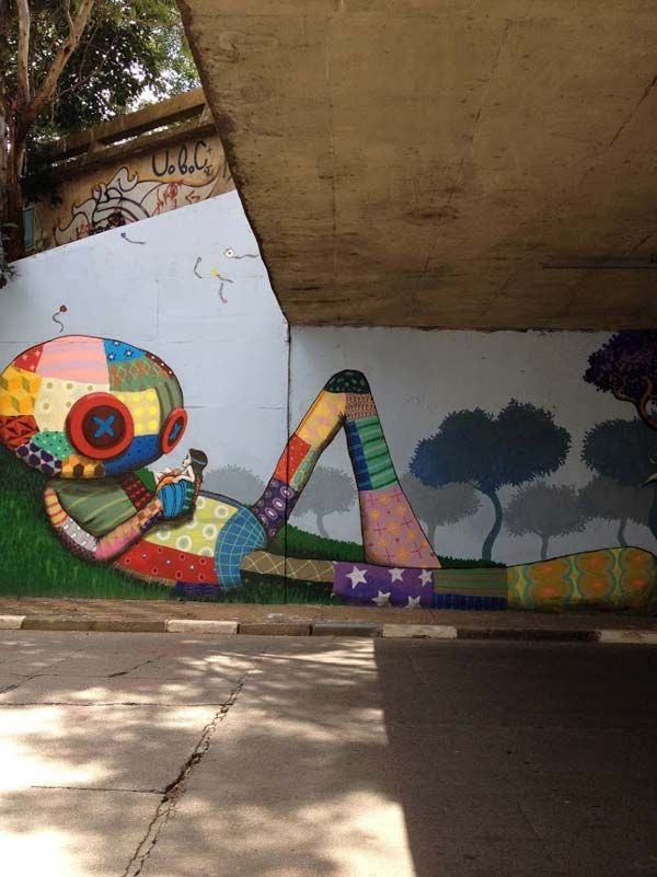 Underpass mural by Tinho | #streetart2015 #urbanartists #streetartists #wallmura…