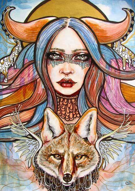 Coyote woman trickster Original surreal portrait by MoonSpiralart, $150.00