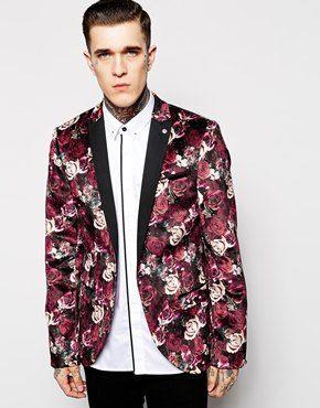 Noose & Monkey Floral Velvet Blazer In Skinny Fit