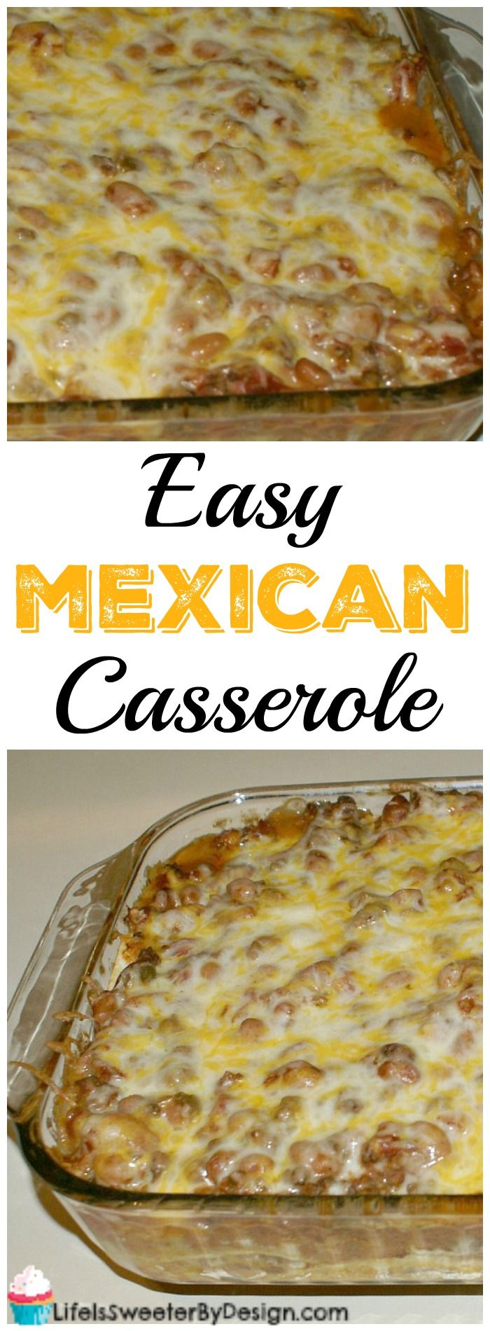 Easy Mexican Casserole is a hearty and filling recipe. This dinner recipe is very easy to adapt for picky eaters too! Filled with corn tortillas, ground beef, shredded cheese and more.
