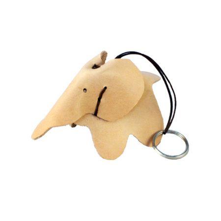 Nøglering lavet i kernelæder - Læder elefant nøglering - Det Lille Læderi
