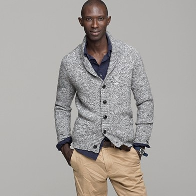 gray mens Shawl collar cardigan from JCrew, for me, because mens sweaters are warmer