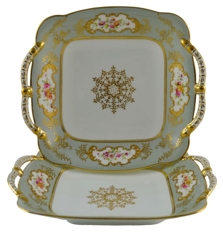 Pair of Antique Starter or Dessert Deep Plates in Grey & Gold English Coalport