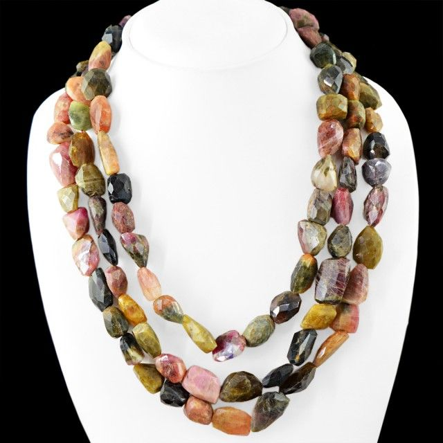 Genuine 1175.00 Cts 3 Line Watermelon Tourmaline Beads Necklace FASHIONABLE BEAD NECKLACE