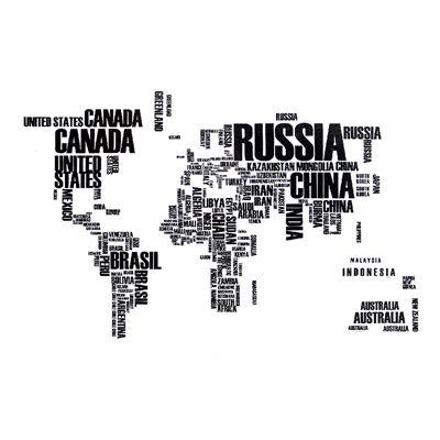 타이포그래피 세계지도 (데코 스티커)