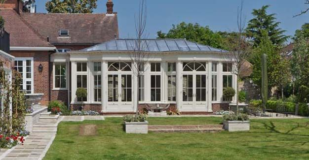 Large conservatory with lead roof.