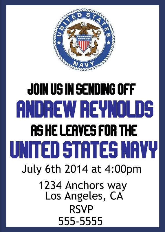 U.S. Navy send off party invite. Budget friendly, DIY, Customizable
