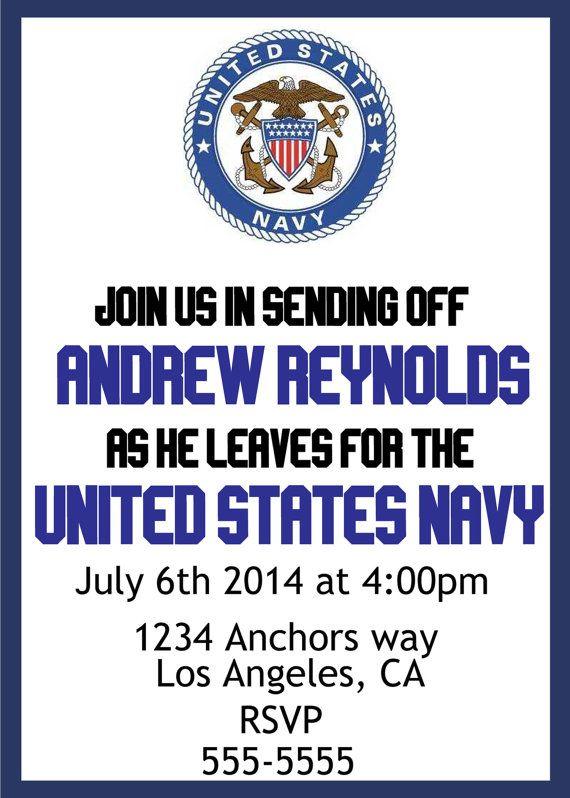 U.S. Navy send off party invite. Budget friendly, DIY, Customizable