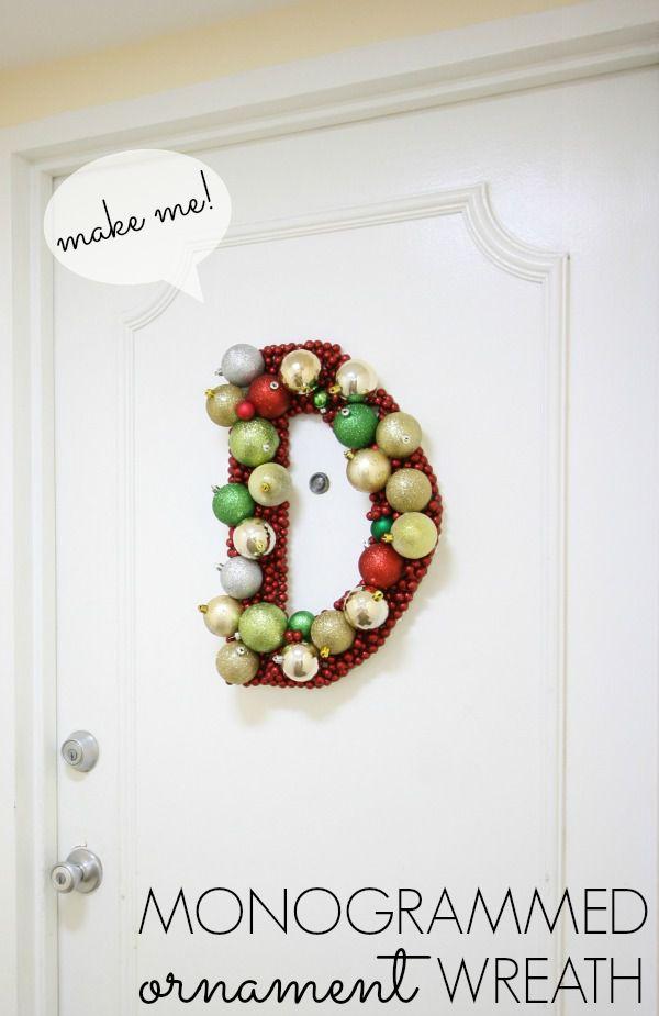 Monogrammed ornament wreath