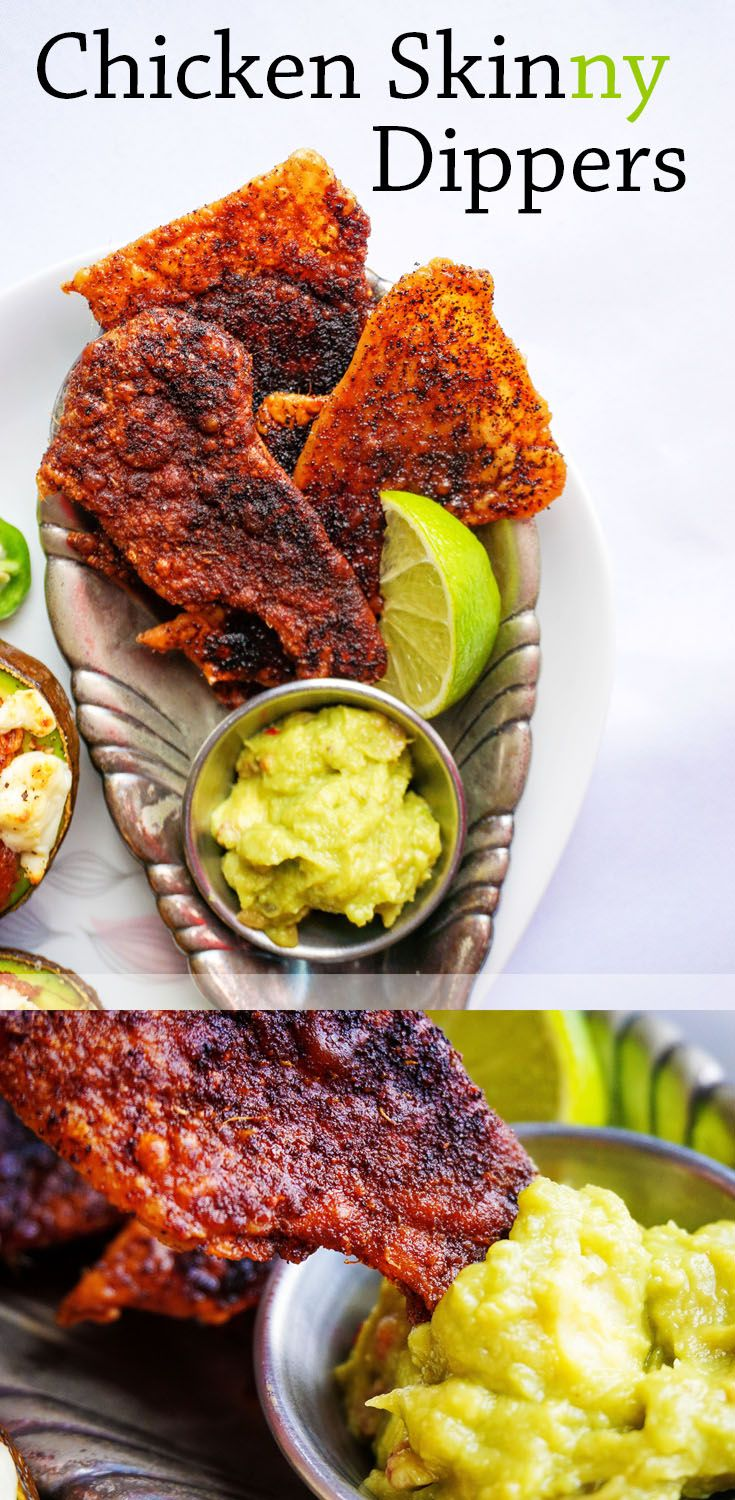 "These Baked Chicken Skin-ny Dippers are correct answer to the question ""what do I dip in my guacamole""."