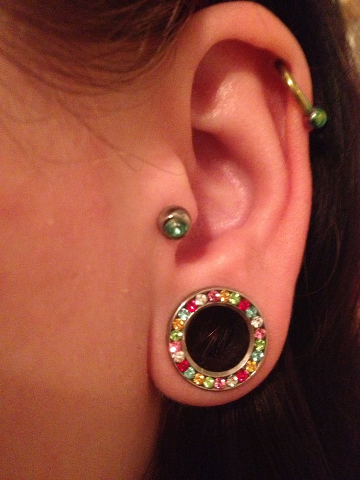 """Pretty stainless steel 1/2"""" plugs with a screw fit back and rhinestones from Out of the Past, 340 St. Paul Street, Downtown St Catharines"""