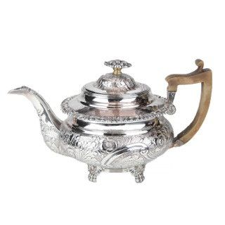 Antique George III silverplate teapot with wooden handle. In excellent condition. Circa 1800s.  sc 1 st  Pinterest & 2235 best Silver Silver \u0026 Silver images on Pinterest | Antique ...