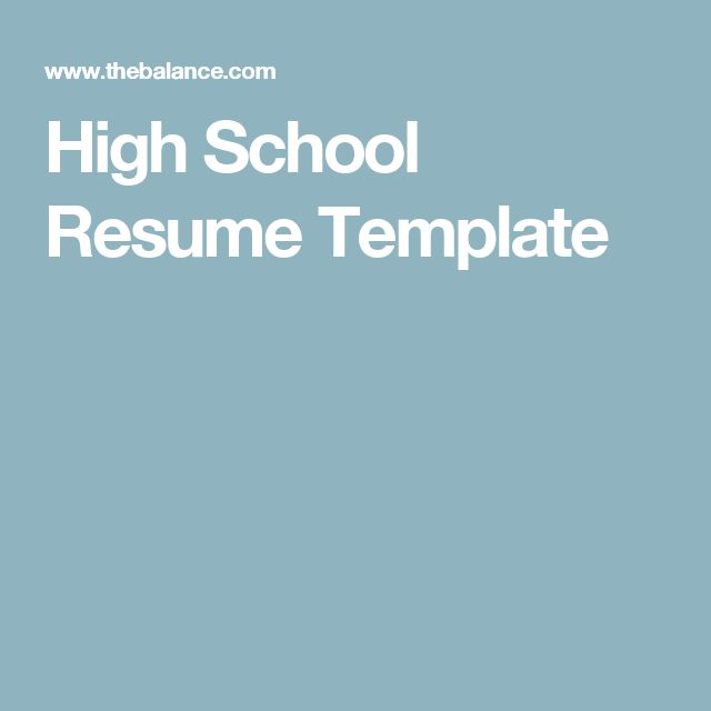 The 25+ best High school resume template ideas on Pinterest Job - Sample Resumes For High School Students
