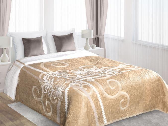 Beżowa narzuta dwustronna na łóżko z kwiatowym ornamentem