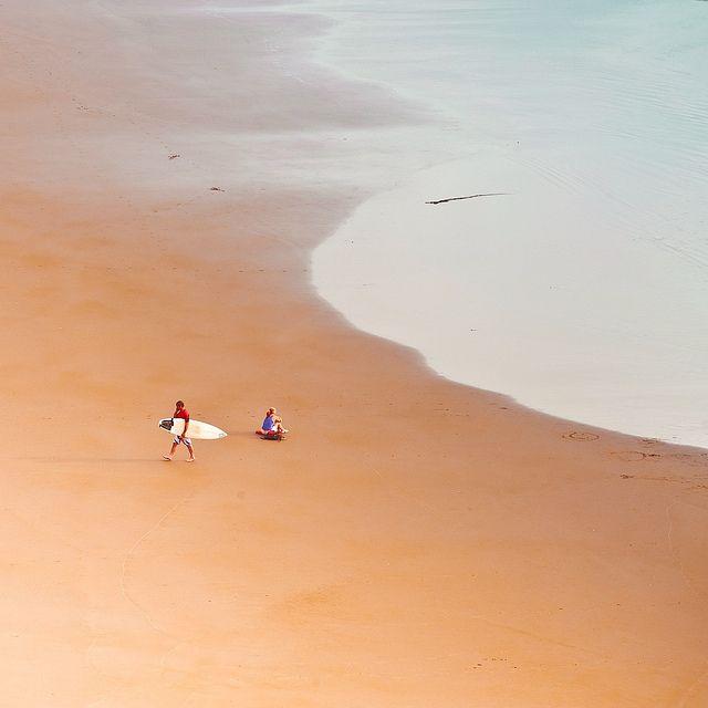 surfers at Muriwai Beach ... near Auckland, New Zealand