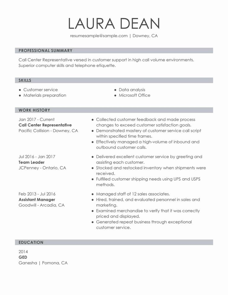 Call Center Customer Service Representative Resume Lovely