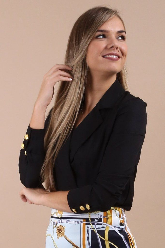 826a599f1ce Irene Black Wrap Collar Bodysuit | New Arrivals | Virgo Boutique |  Bodysuit, Black, Collars