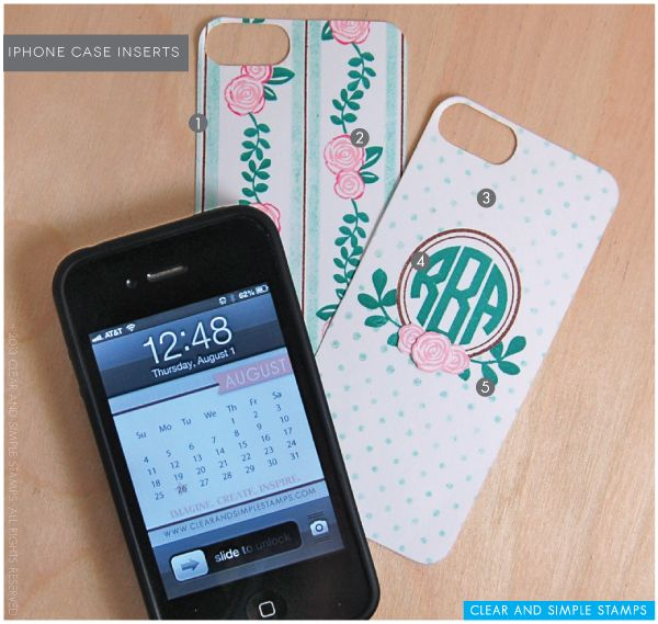 Monogram iPhone Cases   Clear and Simple Stamps Alpha Monogram - full supplies on blog along with PDF case insert download   iPhone 4 and iPhone 5