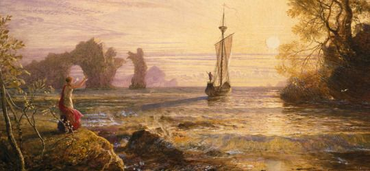 Image result for The Departure of Ulysses from the Isle of Calypso by Samuel Palmer