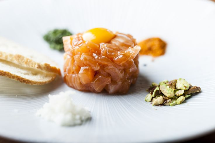 Spicy Salmon Tartare, Chopped Pistachio, Shiso, Jicama with Asian Vinaigrette  #soho #oldcompton www.thehouseofho.co.uk