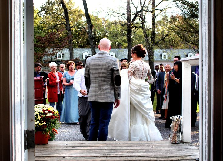 Our Couple greeting their Wedding Guests at their Romantic Rustic Wedding Theme, at Allaire Chapel, Farmingdale, NJ