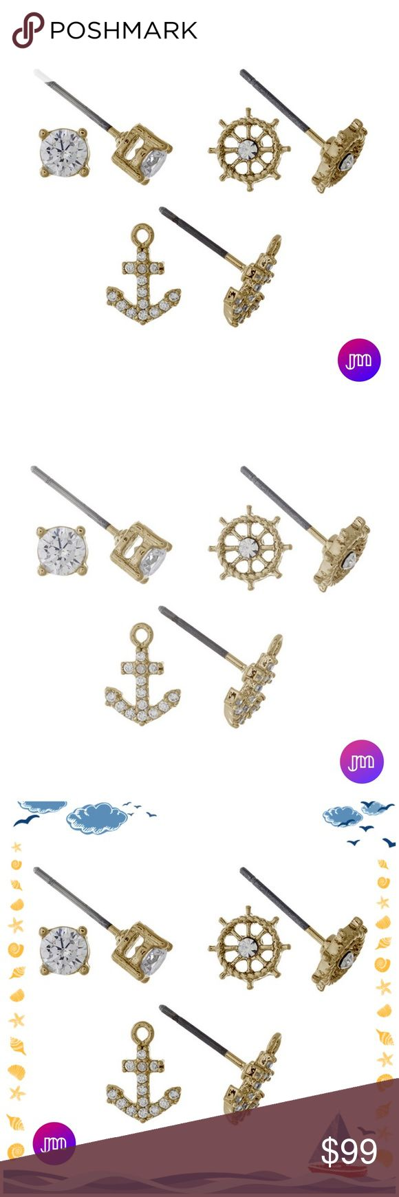 Three Pairs of Nautical Earring Studs Dainty gold tone three pair earring set with rhinestone studs, anchor studs, and captain's wheel studs. Janis Marie Jewelry Earrings