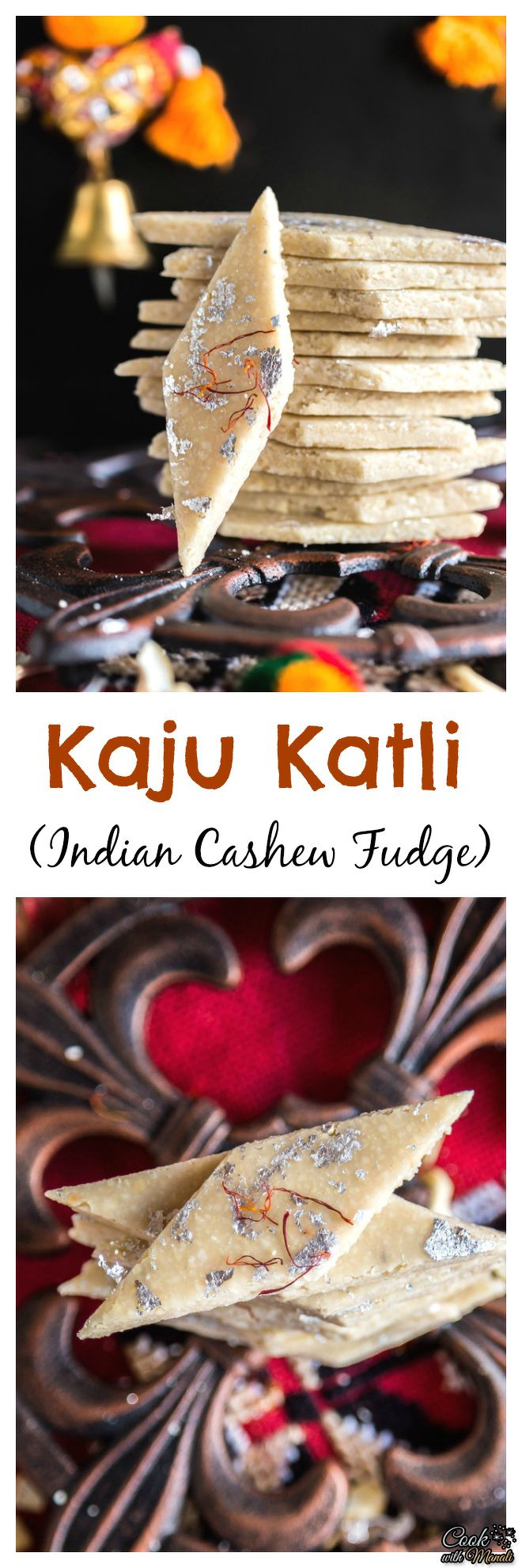 Popular Indian sweet, Kaju Katli is a fudge made out of cashews. The homemade version is so much better than the store