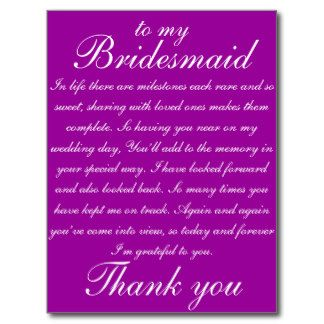 Thank You Bridesmaid Poem | Thank You For Being My Bridesmaid Post Cards