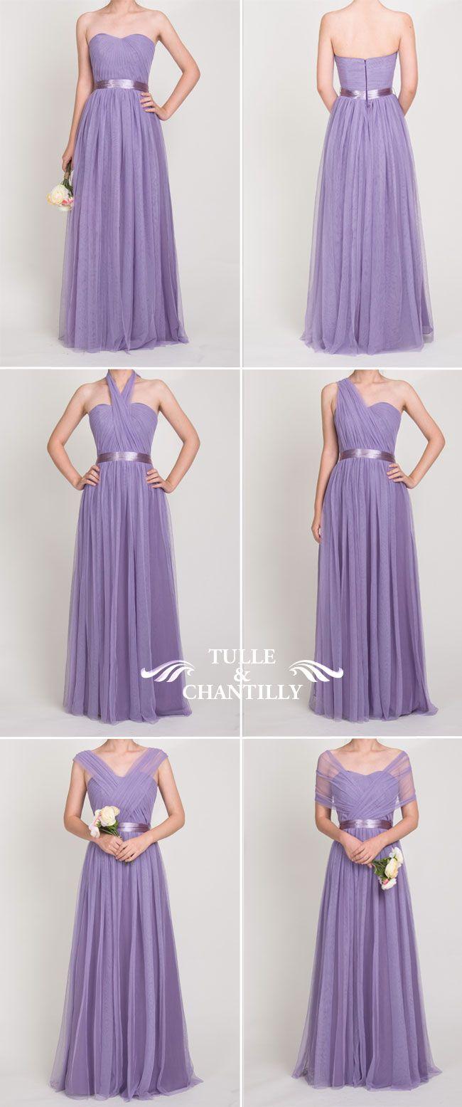 long convertible tulle purple bridesmaid dresses 2016