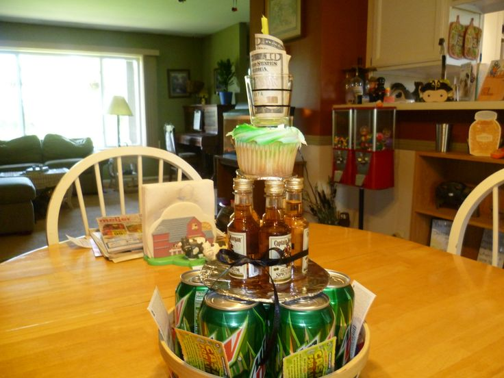 "Birthday ""Cake"" for adult son.  Has his favorite soda, mini liquor bottles, shot glass, cupcake and money!"