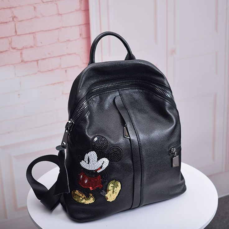 sac dos de cuir avec mickey pour les coll ges sacs de. Black Bedroom Furniture Sets. Home Design Ideas