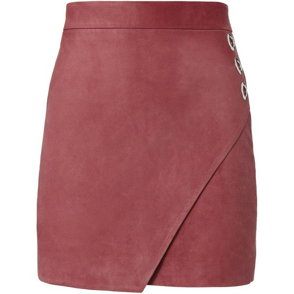 Rose Suede Wrap Front Mini Skirt (7 755 ZAR) ❤ liked on Polyvore featuring skirts, mini skirts, metallic, eyelet skirts, wrap around skirt, suede skirt, metallic skirts and party skirts