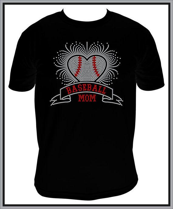 Rhinestone Baseball Mom Heart Spray Shirt by BeyondtheBlingUSA, $25.00
