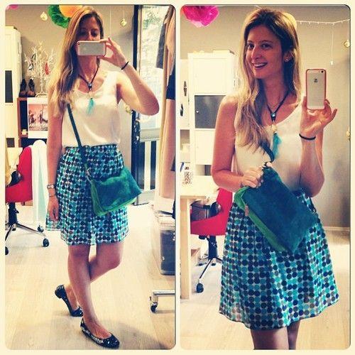 Bugün Burcu Designroom'dan maviler içinde. / Today Burcu is in blues from #Designroom. #suede #handbag #bag #süet #çanta #polkadots #skirt #silk #blouse #feather #necklace #instacollage #kolye #mavi #puantiye #etek #ipek #bluz #burcusdesignroomlookoftheday
