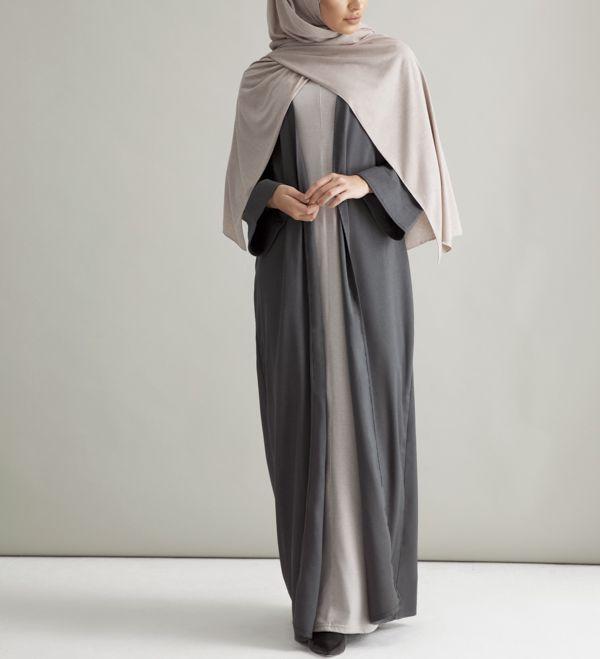 Charcoal Kimono With Turn-back Cuffs - £50.90 : Inayah, Islamic Clothing & Fashion, Abayas, Jilbabs, Hijabs, Jalabiyas & Hijab Pins