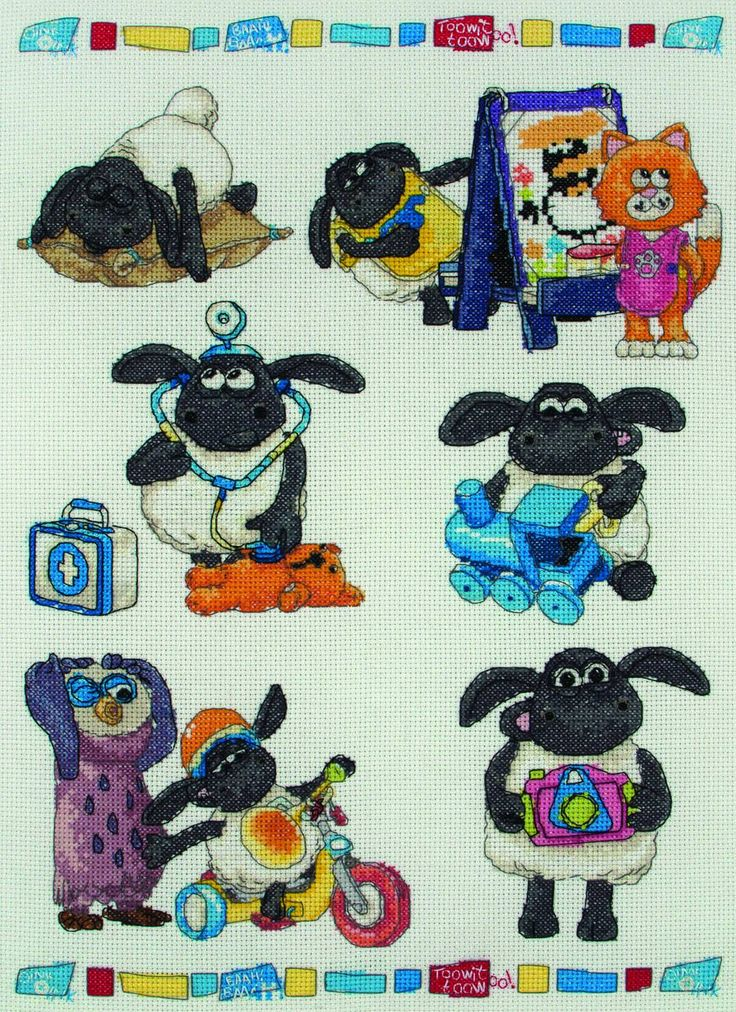 The essential Timmy Time cross stitch kit, featuring the famous sheep and his friends doing all their daily do's in a wonderfully illustrated pattern ...