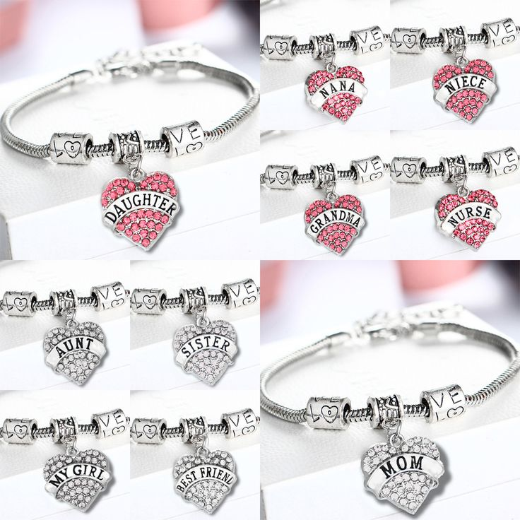 Fashion New Family Members Love Bracelets Vintage Metal Chains Crystal Heart Bracelets for Women Pulseras Mujer