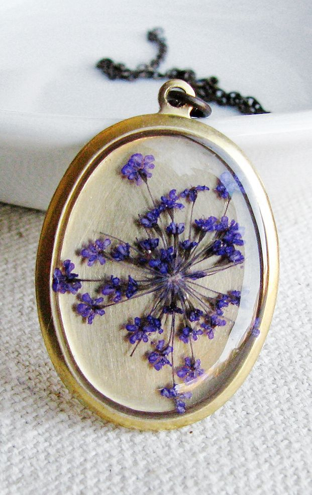 Pressed Purple Queen Anne's Lace Flower Necklace