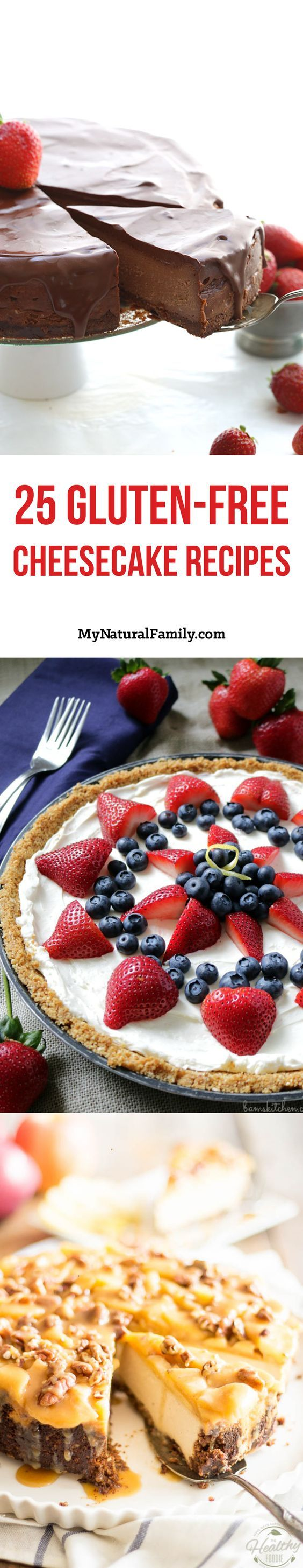 The 25 Best Gluten-Free Cheesecake Recipes - click, then scroll down the page to find all of the recipes.