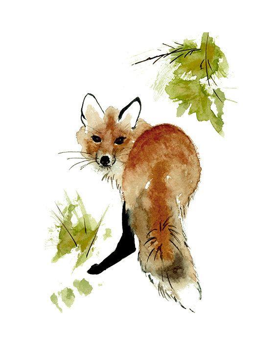 Le renard roux imprimer à partir d'aquarelle originale Illustration de renard roux, renard roux peinture murale, Art, Art mural décor rustique, Woodland Art Print