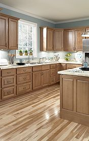 Gray Blue Walls Oak Cabinets Light Granite Simple
