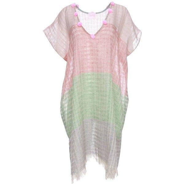 MonayaF - Linen Beach Kaftan/ pink pompoms ($225) ❤ liked on Polyvore featuring tops, pink kaftan, v-neck tops, low top, caftan tops and beach kaftan