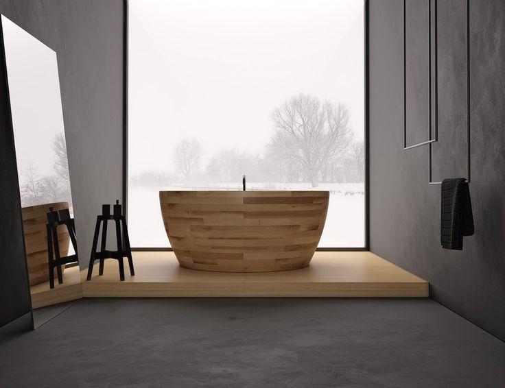 Bathroom, Modern Wooden Bathtub Design Ideas Munai Bathtub Bay Window With  Awesome View Grey Flooring